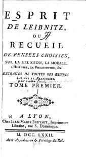 Esprit de Leibniz: ou, Recueil de pensée choisies, sur la religion, la morale, l'histoire, la philosophie, &c. extraites de toutes ses œuvres latines et françoises, Volume1