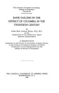 Bank Failures in the District of Columbia in the Twentieth Century PDF