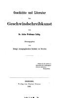 Geschichte und Literatur der Geschwindschreibkunst PDF