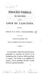 Éloge de Merlin et de Proudhon. Procès-verbal de rentrée de la cour de cassation: discours ... du 4 novembre 1839