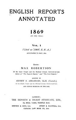 English Reports Annotated  1866 1900 PDF