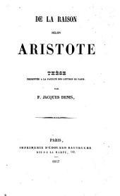 De la raison selon Aristote