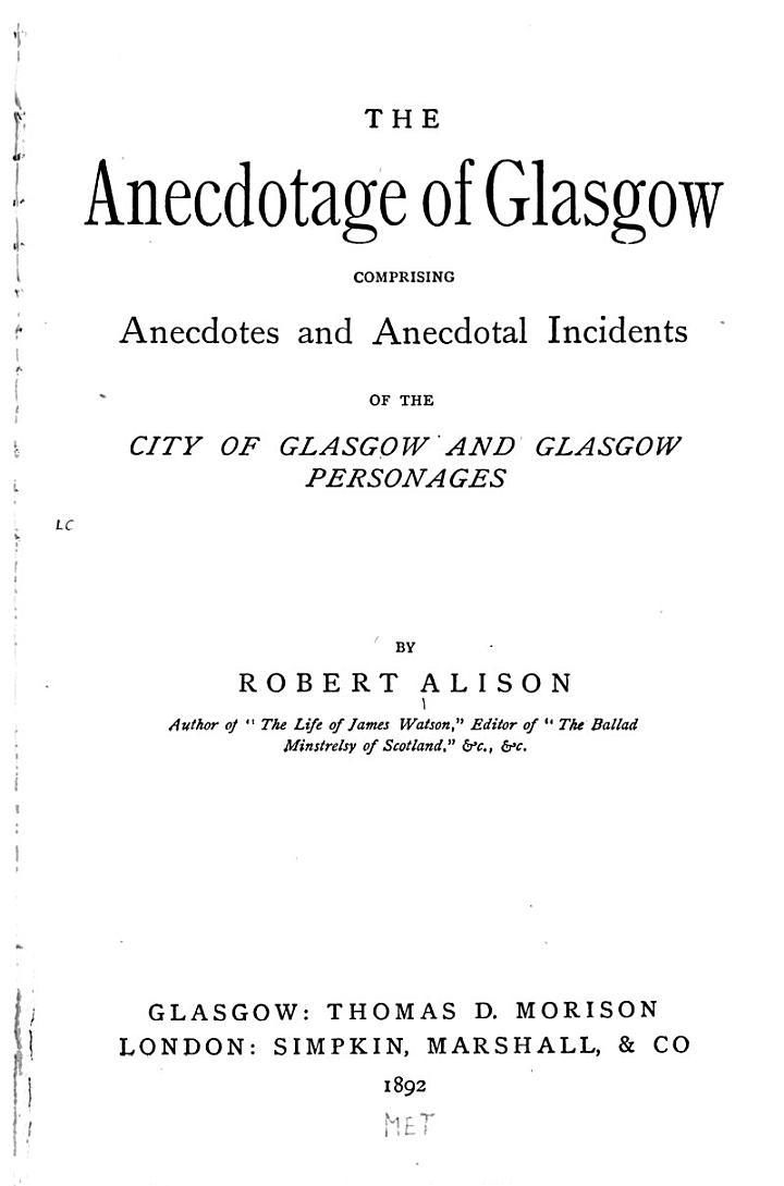 The Anecdotage of Glasgow