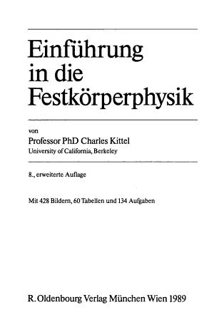 Einf  hrung in die Festk  rperphysik PDF
