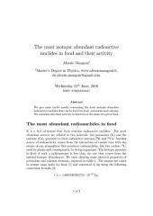 The most isotopic abundant radioactive nuclides in food and their activity