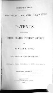 Specifications and Drawings of Patents Issued from the United States Patent Office for ...: Part 1