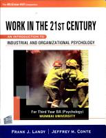 Work In The 21St Century  An Introduction To Organizational And Industrial Psychology  For Third Year Ba Psychology  Mumbai University  PDF