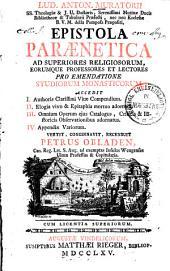 Epistola paraenetica ad superiores religiosorum, eorumque professores et lectores pro emendatione studiorum monasticorum