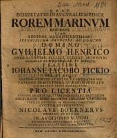 Dissertatio Inavgvralis Medica Rorem Marinvm Exhibens