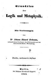 Grundriss der Logik und Metaphysik
