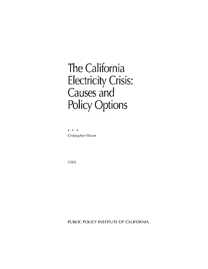 The California Electricity Crisis PDF