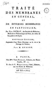Traité des membranes en général et des diverses membranes en particulier