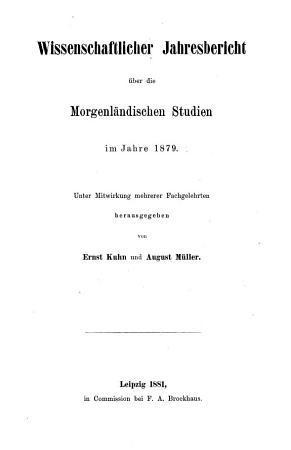 Wissenschaftlicher Jahresbericht   ber die Morgenl  ndischen Studien  1859 bis  1881     PDF