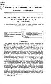 An annotated list of literature references on garment sizes and body measurements