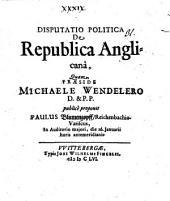 Disp. polit. de republica Anglicana