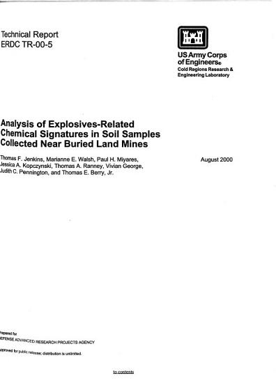 Analysis of Explosives related Chemical Signatures in Soil Samples Collected Near Buried Land Mines PDF