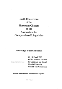 Sixth Conference of the European Chapter of the Association for Computational Linguistics PDF