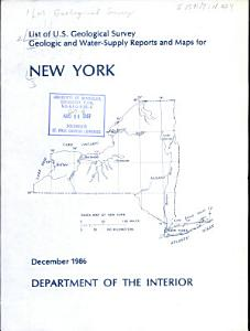 List of U S  Geological Survey Geologic and Water supply Reports and Maps for New York PDF