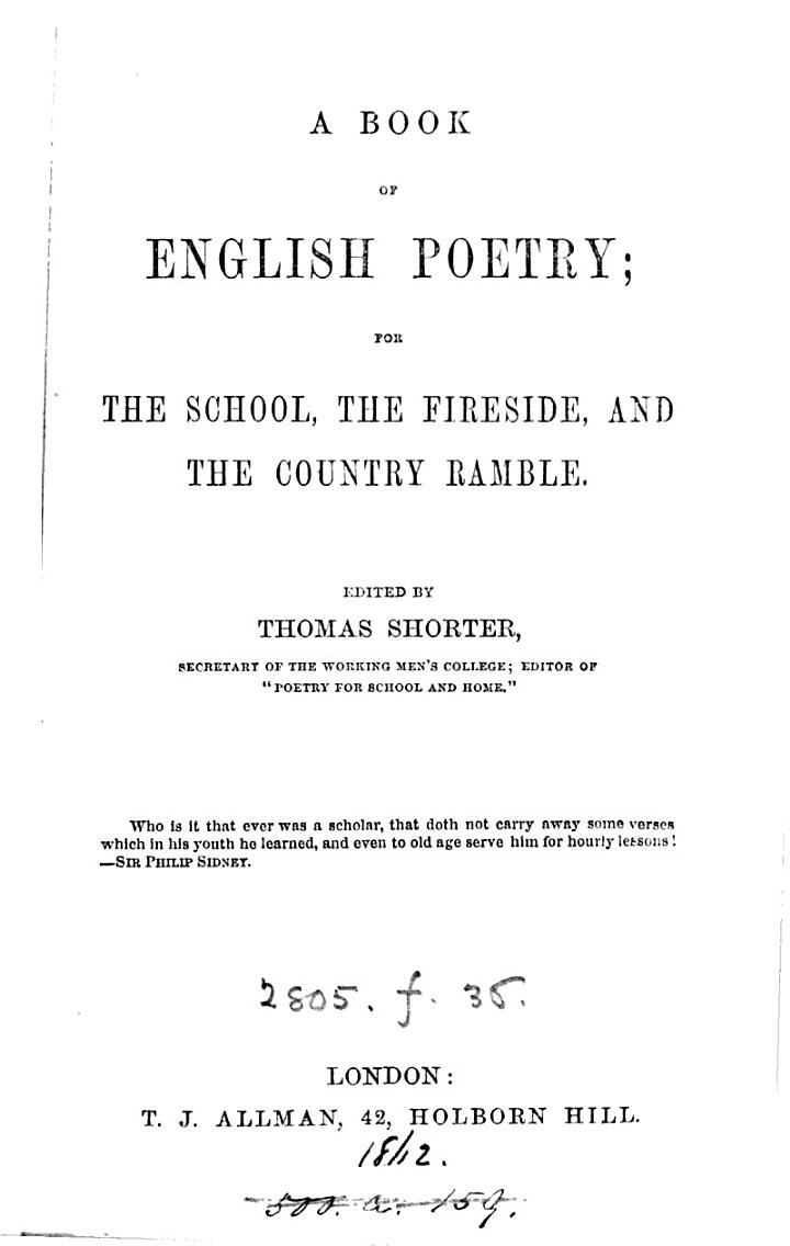 A book of English poetry; ed. by T. Shorter