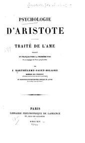 Psychologie d'Aristote: traité de l'âme