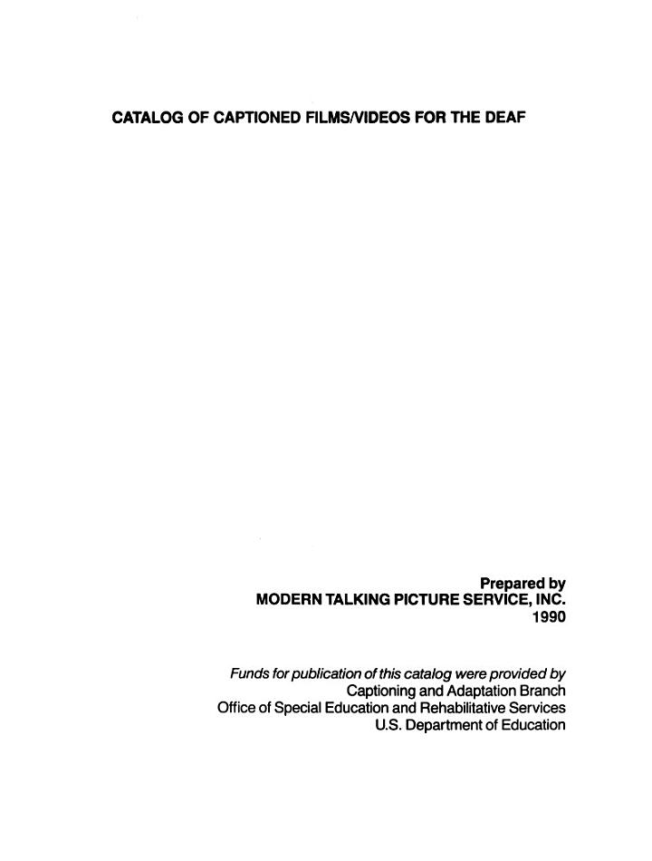 Catalog of Captioned Films/videos for the Deaf