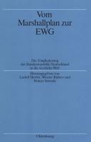Vom Marshallplan zur EWG PDF