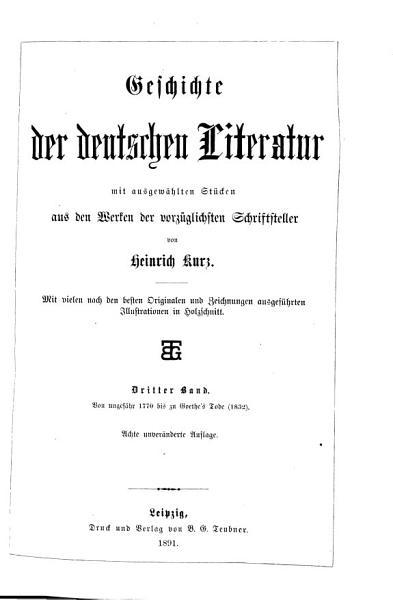 Geschichte der deutschen Literatur  Von ungef  hr 1770 bis zu Goethe s Tode  1832  PDF