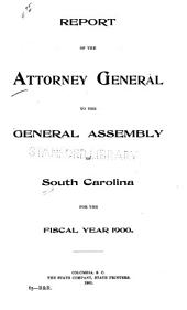 Annual Report of the Attorney General of South Carolina to the General Assembly