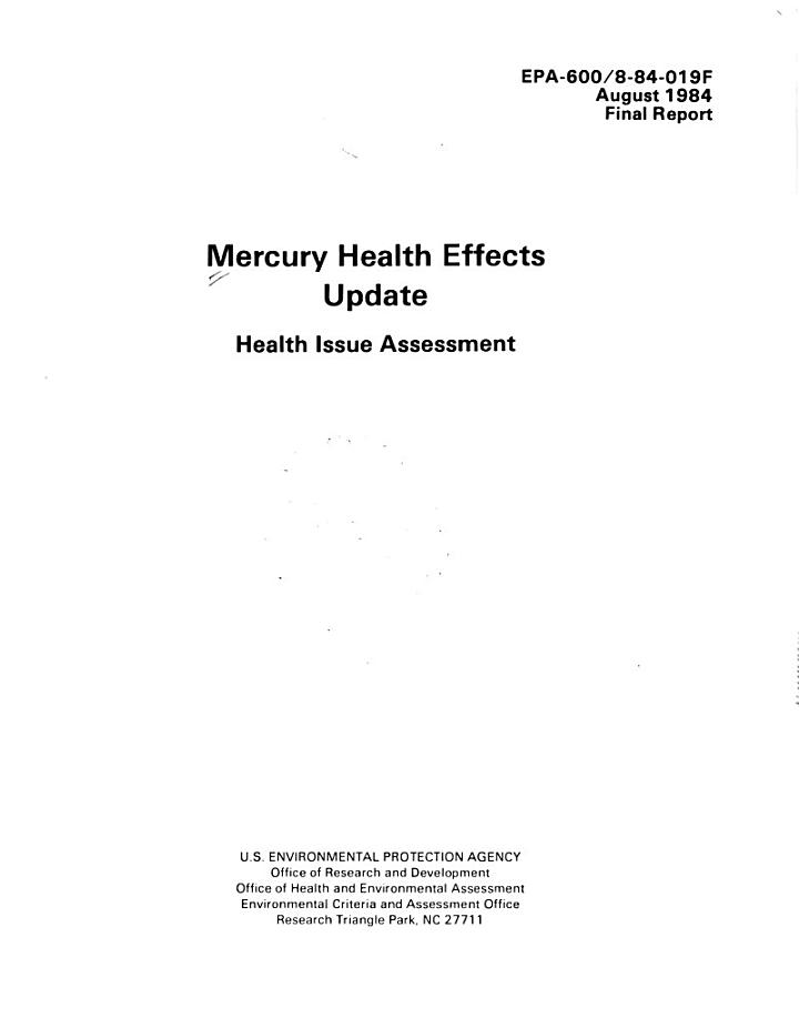 Mercury health effects update
