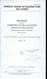 Technology Transfer and Challenges Facing Small Business PDF
