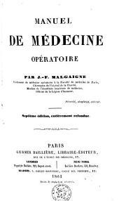 Manuel de médecine opératoire