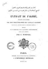 Extrait du Fakhri traite d'algebre (manuscript 952, supplement arabe de la Bibliotheque imperiale) par Abou Bekr Mohammed Ben Alhacan Alkarkhi