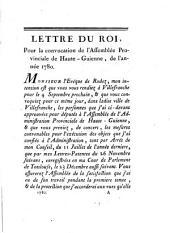 Procès-verbal des séances de l'Assemblée Provinciale de Haute-Guienne: 1780. Dans les mois de septembre & d'octobre