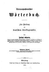 Älterneuhochdeutsches Wörterbuch: ein Beitrag zur deutschen Lexikographie