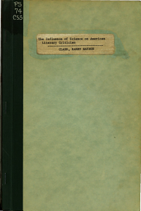 The Influence of Science on American Literary Criticism  1860 1910  Including the Vogue of Taine