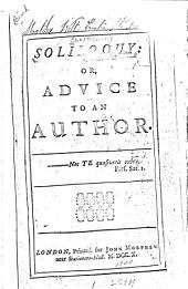 Soliloquy: Or, Advice to an Author