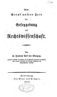 Vom Beruf unsrer Zeit f  r Gesetzgebung und Rechtswissenschaft PDF