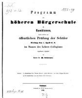Programm der H  heren B  rgerschule zu Gumbinnen0 PDF