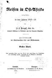 Reisen in Ost-Afrika: ausgeführt in den Jahren 1837-1855, Band 1
