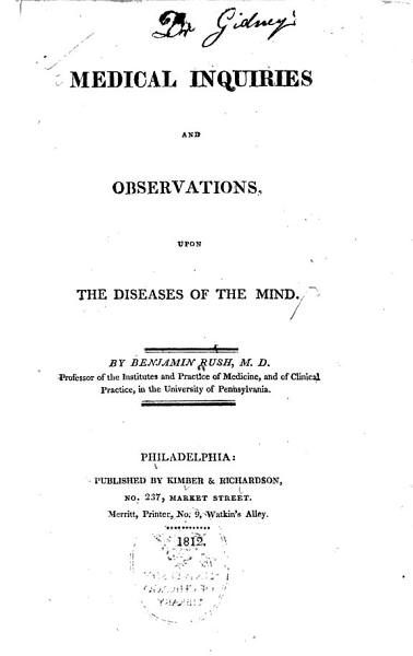 Download Medical Inquiries and Observations  Upon the Diseases of the Mind Book