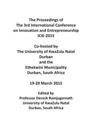 ICIE 2015 3rd International Conference on Innovation and Entrepreneurship