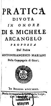 Pratica Divota In Onore Di S. Michele Arcangelo