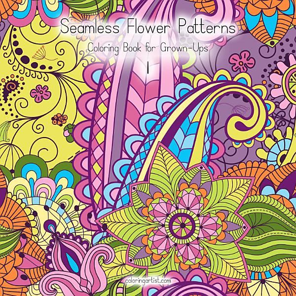 Download Seamless Flower Patterns Coloring Book for Grown Ups 1 Book