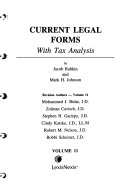 Current Legal Forms, with Tax Analysis: Index I