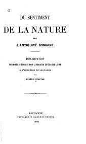 Du sentiment de la nature dans l'antiquité romaine