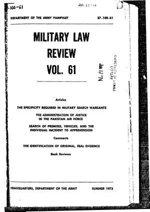 Military Law Review Vol  61 PDF