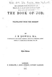 The Book of Job: Translated from the Hebrew