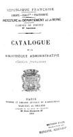 Catalogue de la Biblioth  que administrative  Section fran  aise  PDF