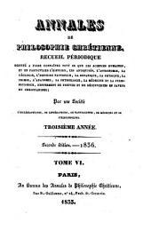 Annales de philosophie chrétienne: Volumes6à7