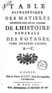 Table de L'Histoire des Voyages